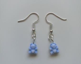 Teddy bears picnic cute dainty drop earrings silver handmade