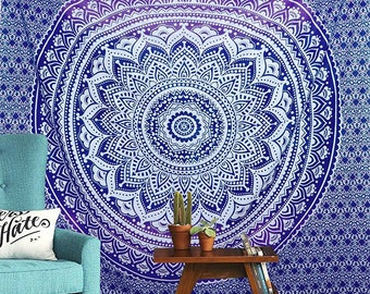 Purple Ombre Tapestry Wall hanging College Dorm Tapestry Mandala Tapestry Dorm Decor Indian Hippie Tapestry Bohemian Bedspread Bedding Beach