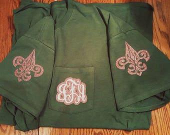 Glitter monogram t-shirt custom initials green rose gold pocket tee , pocket t-shirt