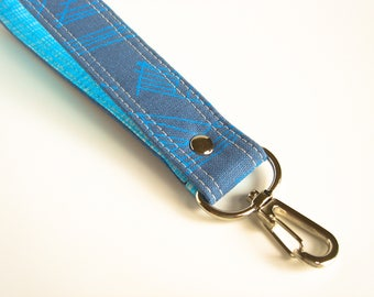 Blue Geometric Key Chain, Blue Sketch Key Fob, Key Holder, Key Wrist Strap, Wrist Lanyard, Short Lanyard Strap