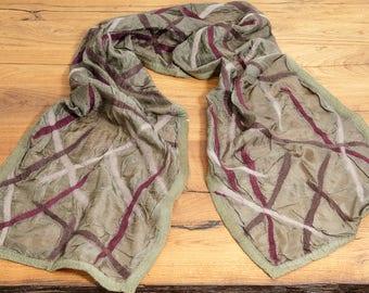Scarf cross olive green Nuno scarf silk felt hand felted