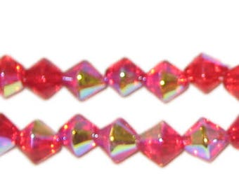 8mm Strawberry Red Bi-cone AB Finish Fire Polish Glass Bead