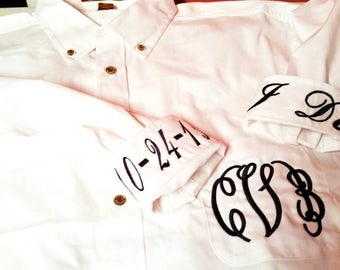 Monogram Dress Shirt - Bridal Party Shirts - Oxford Shirt - Wedding Day Shirt - Bride Shirt - Oversized Shirt - Monogram Gift - Button Up