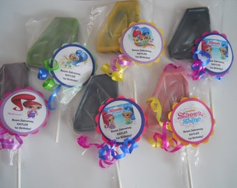 12 Shimmer and Shine 4th Birthday Party Favor Gourmet Chocolate lollipops with custom tags