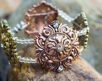 Beautiful Rose Gold & Olive Green Classy Elegant Flower Style Trendy Fashion Fall Bracelet