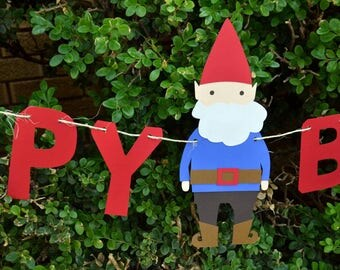 Gnome Banner - choose your words and colors - Perfect addition to your Woodland, Gnome, or Garden Birthday Party and Baby Shower