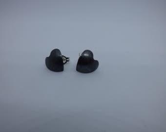 Handmade oxidized sterling silver stud curved-heart shape earrings