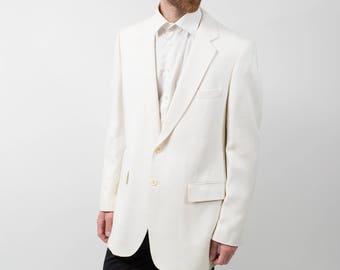 Mens Sports Jacket Blazer / Vintage Large Moygashel White Jacket
