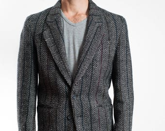 Vintage Mens Blazer / 1980's Grey Wool Tweed Sports Coat /  Biaggiotti Avanti for Big Steel / Pure Virgin Wool Jacket / Made in Canada