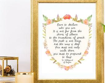 Saint Hildegard of Bingen Poem Catholic Saint Quote Wall Art Printable