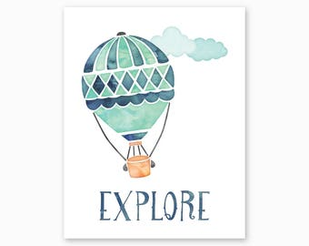 ADVENTURE NURSERY, Explore Nursery Art, Explore Nursery Printable, Hot Air Balloon, Blue Green Nursery, Watercolor Nursery, Instant Download