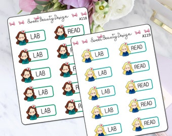 Nurse Lab Planner Stickers, Nurse Reminder Stickers, Nurse Study Reminder Sticker, Lab Stickers, Planner Accessories, Scrapbook Sticker