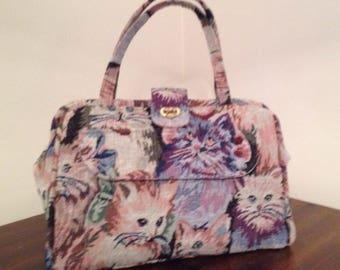 Cat tapestry carpet bag