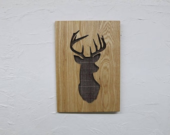 Large Wooden Recessed with Tweed Stag