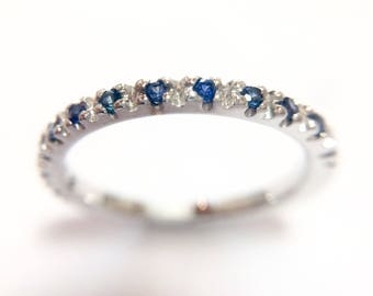 18 ct white gold diamond eternity ring with magnificent natural brilliant sapphires
