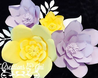 Violet and yellow paper flowers set