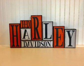 Harley Davidson Wood Block Set