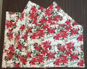 Christmas Kitchen Placemats - Poinsettias and Snow