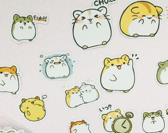 Cute hamster stickers/ kawaii japanese sticker flakes/ cute planner stickers