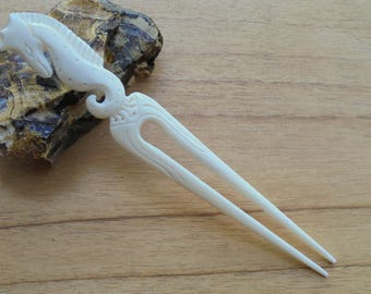 Bone Hair Sticks, Hair Pin, Seahorse Carving Hair Fork, 2 Prongs Hair Accessories HS 501