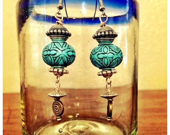 Very unique blue bead drop earrings