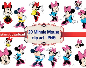 INSTANT DL- 20x  Minnie Mouse  Clipart - printable Digital Clipart Graphic Instant Download
