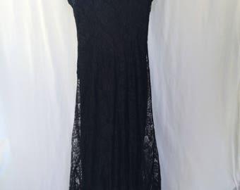Vintage 1990's Long Black Lace & Beaded Maxi Dress