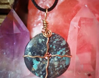 Turquoise + Agate Necklace ~ Artisan Healingstone Pendant