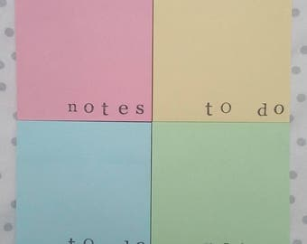 2 pastel 'notes' and 'to do' sticky notes memo block