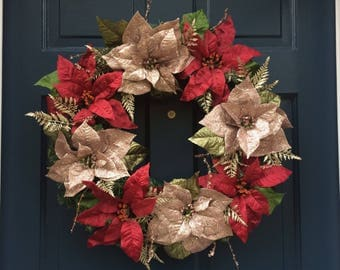 Glitter Poinsettia Christmas Wreath