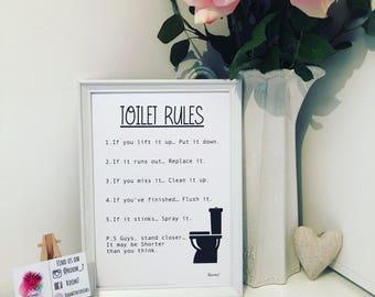 Bathroom - toilet rules print