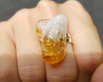 Citrine Stone Sterling Silver Ring