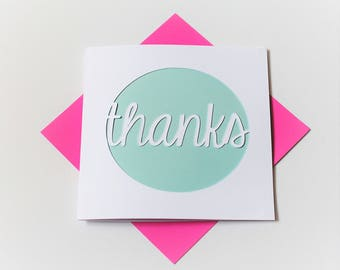 thank you card|thanks|handmade|card for her|blank greetings card|silhouette