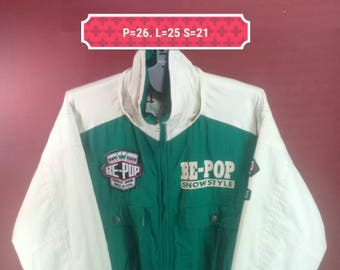 Vintage Be Pop Down Jacket Windbreaker Spellout Sweater Puffer White Green Cross Colour Size L Skiwear Goose Down Winter Jacket Windbreaker