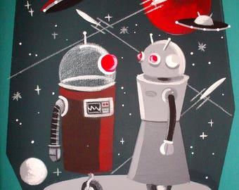 El Gato Gomez Retro Vintage Toy Robot Art Print