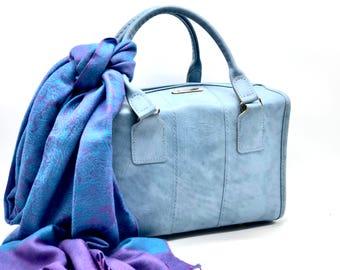 1950s Vintage Samsonite Toiletry Bag, Travel Bag, Weekender Bag, Overnight Bag, Faux Leather, Light Blue