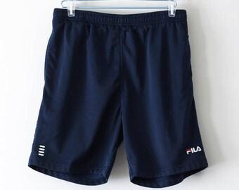 FILA Vintage Navy Shorts. Sz L. 1990s