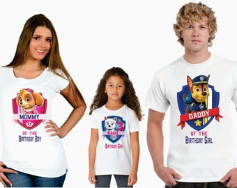 Paw Patrol family Birthday t-shirts, Personalized paw patrol family birthday shirt, birthday girl paw patrol shirt