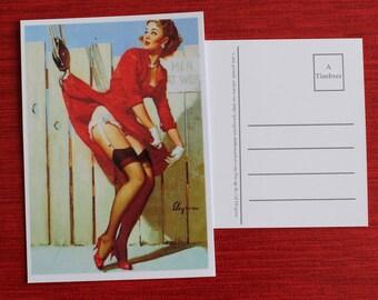 Map postcard vintage pinup girl working.