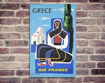 Affiche Grèce. Affiche Air France. Affiche vintage. Affiche Air France Grèce.