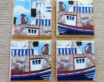 Boat coasters,Set of 4 Handmade Coasters, Drink Mats,Table Decor,Drink coasters,wooden coasters,Waterproof,table coasters,decoupage coasters