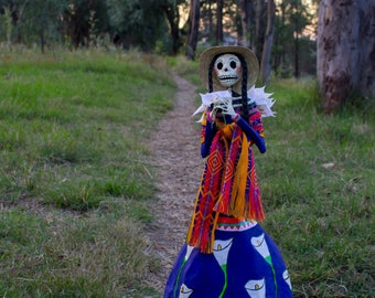 Day of the Dead Lady with Lilies