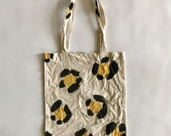 Hand painted leopard eco bag (M)