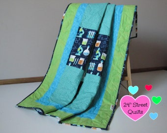 Baby Quilt, Baby Blanket, Crib Quilt | Science (Squares)