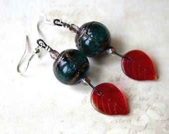 Earrings red black green and gold 925 sterling silver hooks