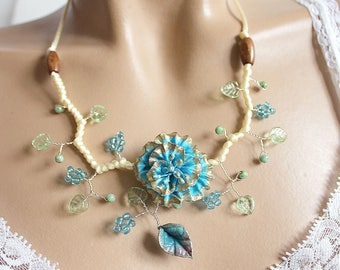Cold porcelain and vanilla satin Blue Flower necklace
