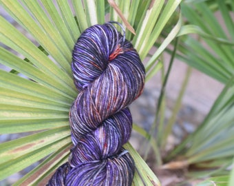 Hand-dyed, worsted weight, 100% SW merino wool, 218yds, colorway *Rustic Firewood*