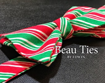 Christmas Red and Green Candy Cane Self Tie Bow Tie