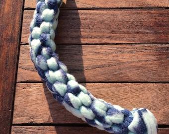Multicolored blue fleece dog toy