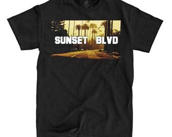 Sunset Blvd - Black Shirt - Ships Fast! High Quality!